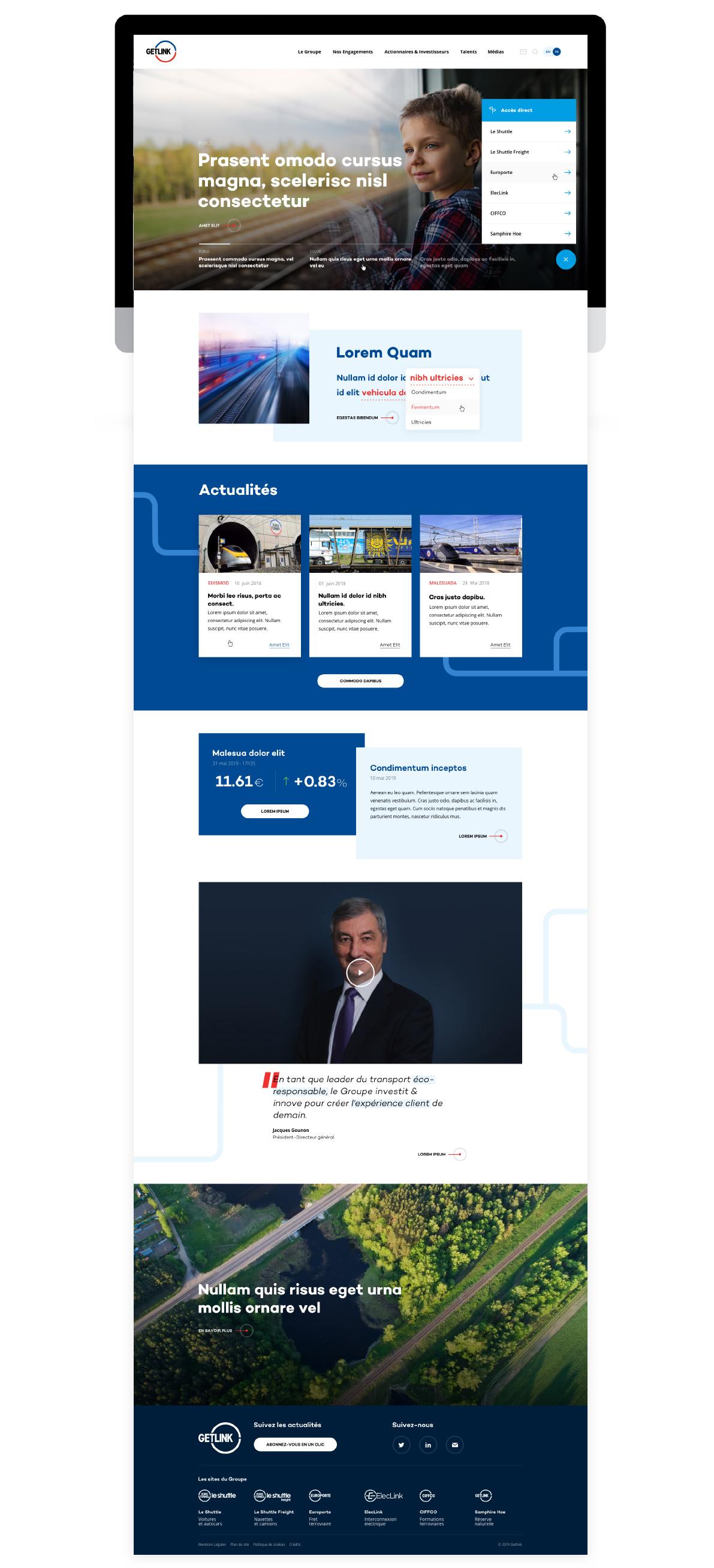 Refonte corporate et stratégie éditoriale pour Getlink par tequilarapido