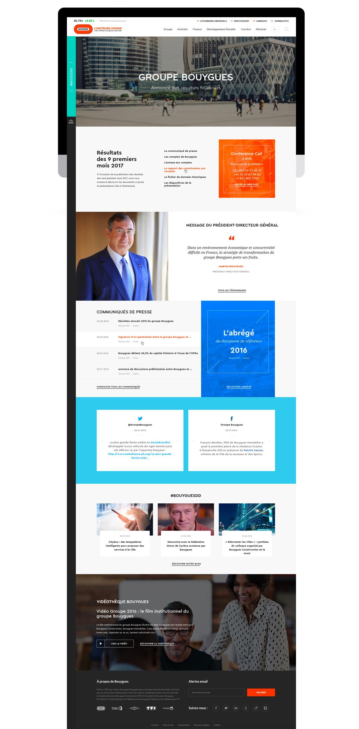 Refonte du site corporate Bouygues par tequilarapido